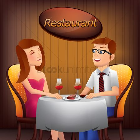 内饰 : Couple sitting at the table in  restaurant