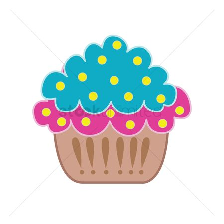 插图剪贴画 : Cupcake isolated over white background