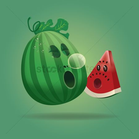 漫画 : Cute cartoon watermelon