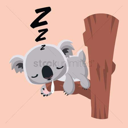 插图剪贴画 : Cute koala bear sleeping on a tree trunk
