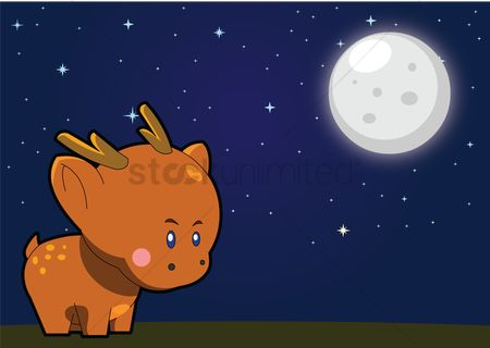 花色 : Deer over a moonlit background