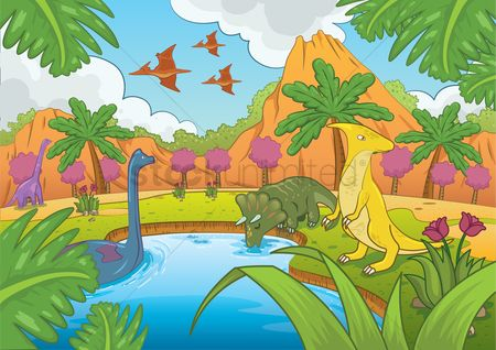 动物 : Dinosaurs in prehistoric time