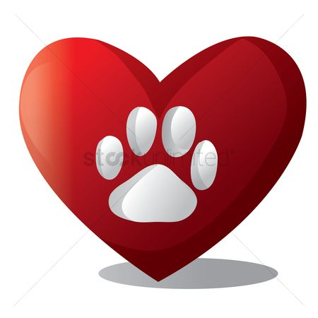 心脏 : Dog paw on heart