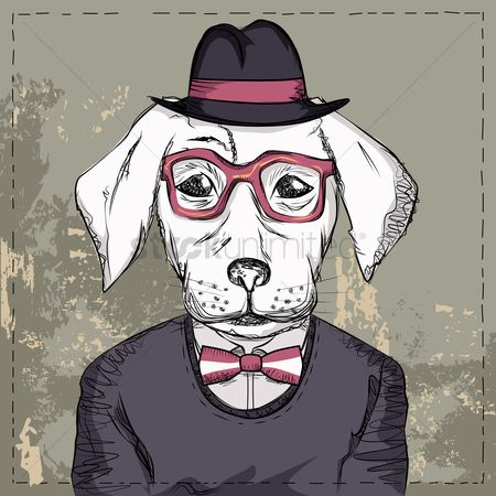 复古 : Dog with glasses and bow wearing a hat