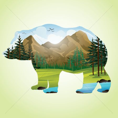 草 : Double exposure of bear and mountainscape
