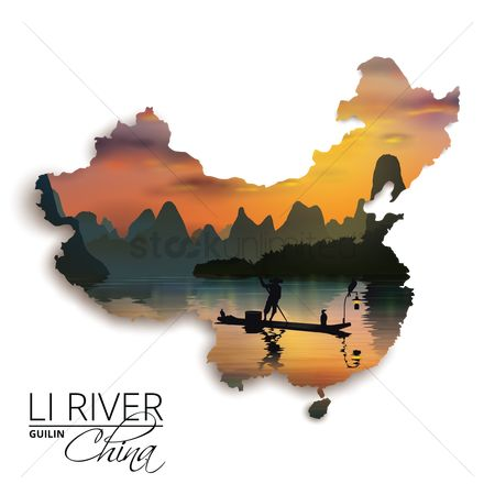 水 : Double exposure of china map and li river