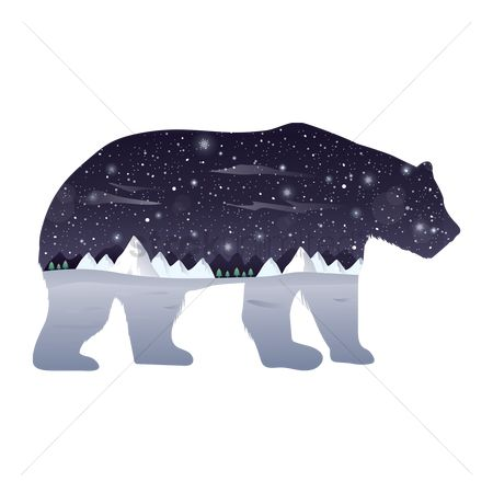 动物野生动物 : Double exposure polar bear and winter night