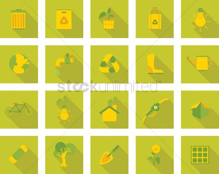 向量 : Eco friendly icons