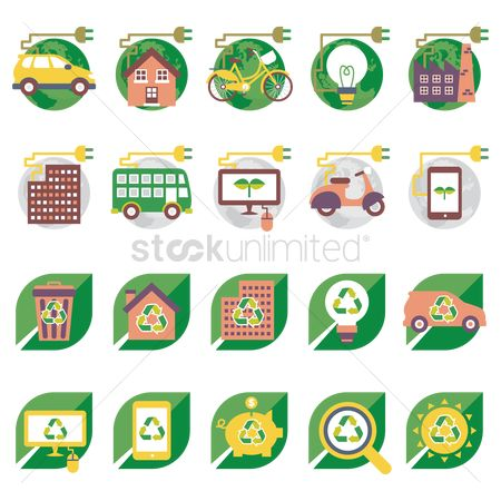 插图剪贴画 : Ecofriendly icons
