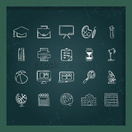 学校 : Education icons set