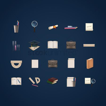 搜藏 : Education icons set