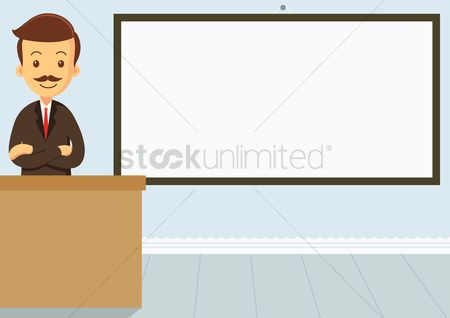 学校 : Educator standing with his arms crossed in the classroom with an empty whiteboard