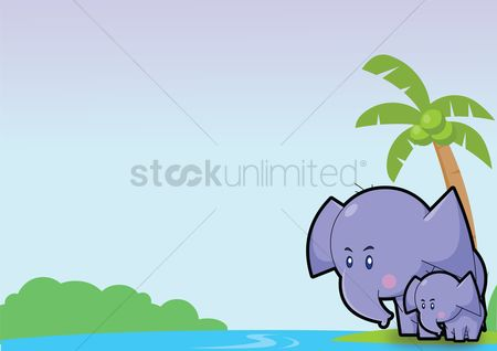 插图剪贴画 : Elephant over a sky background