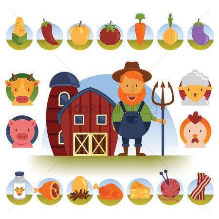 鸟类 : Farmer with farm products and livestock