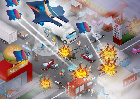 运输 : Fighter planes attacking the city