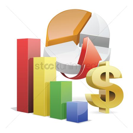 标志 : Financial bar graph and pie chart
