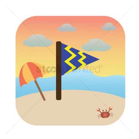 动物 : Flag on the beach