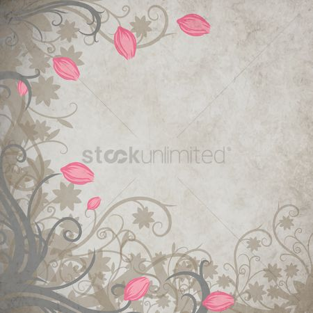 花 : Floral grunge background