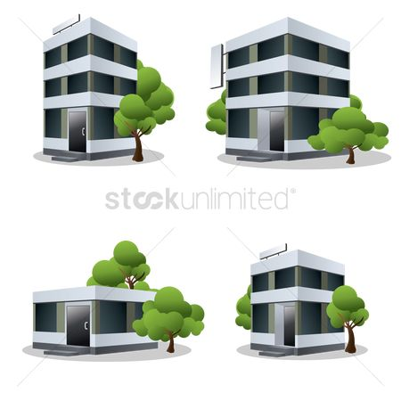 漫画 : Four office buildings with trees