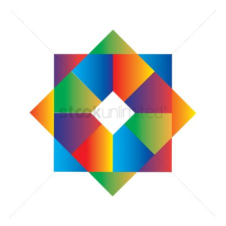 平方 : Geometric octagon with rainbow colors