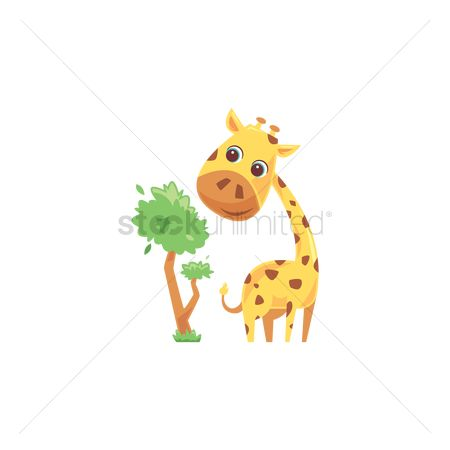 插图剪贴画 : Giraffe and tree