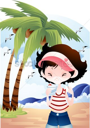 波 : Girl having ice-cream sundae at the beach