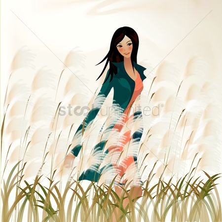 草 : Girl in a field