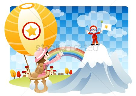 波 : Girl in a hot air balloon waving at a boy on mountain peak