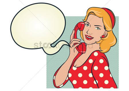 复古 : Girl in red polka dots dress talking on the phone