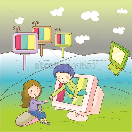 孩子 : Girl learning computer concept