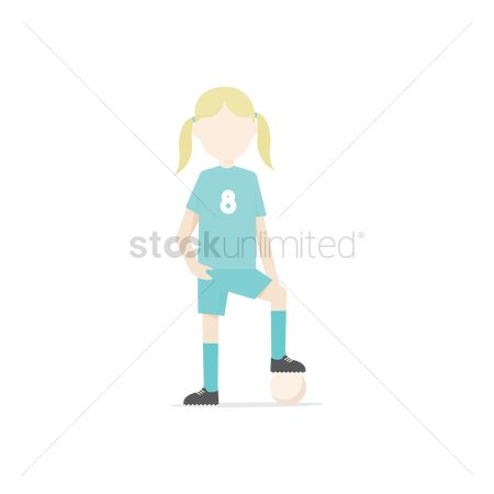 运动员 : Girl playing football