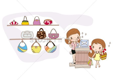 内饰 : Girl shopping for new handbag
