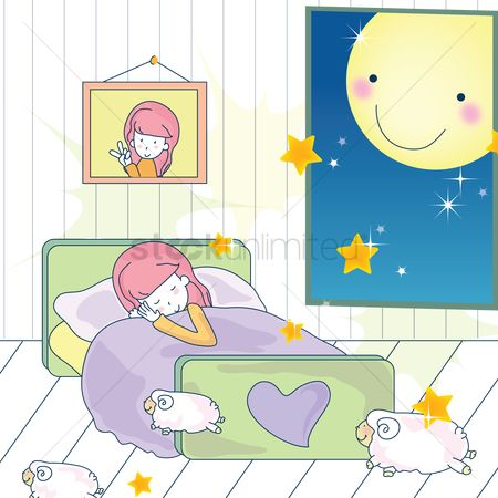 漫画 : Girl sleeping on bed