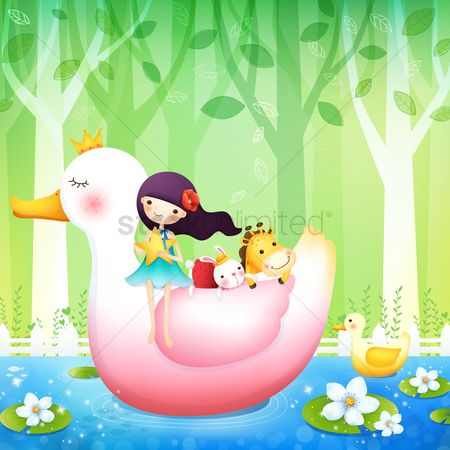 漫画 : Girl with animals on a duck