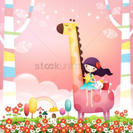 花 : Girl with rabbit on a giraffe