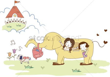 学校 : Girls going to school on elephant