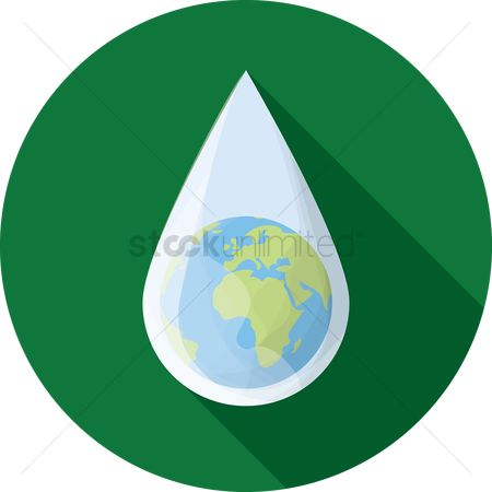 插图剪贴画 : Globe in a water drop