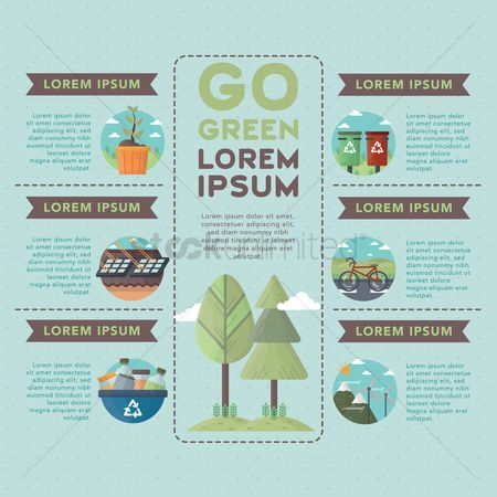向量 : Go green infographic