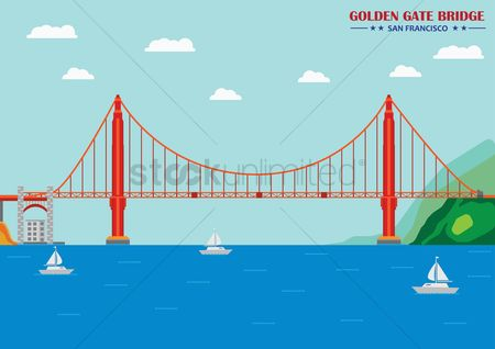 房屋地标 : Golden gate bridge  san francisco