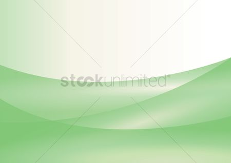 波 : Green curves with white background