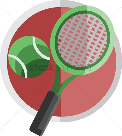 处理 : Green tennis racket and ball