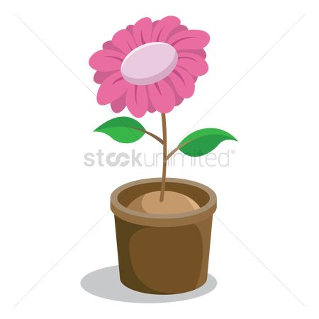 向量 : Growing plant with flower in pot