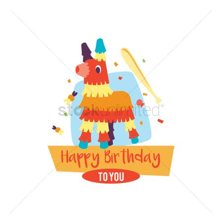 插图剪贴画 : Happy birthday card with pinata