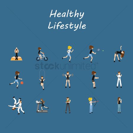 水 : Healthy lifestyle icons