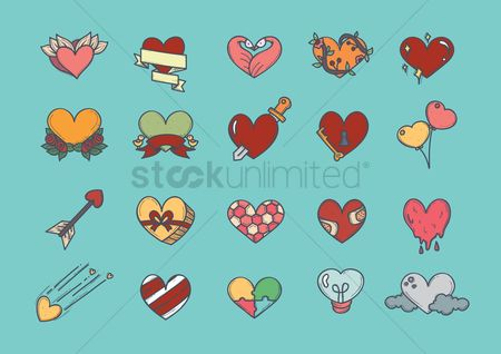 心脏 : Heart icons set