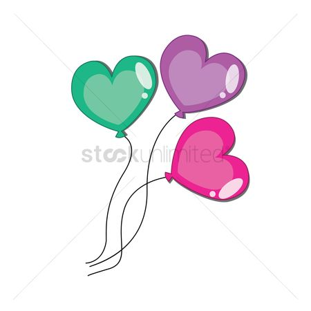 插图剪贴画 : Heart shaped balloons