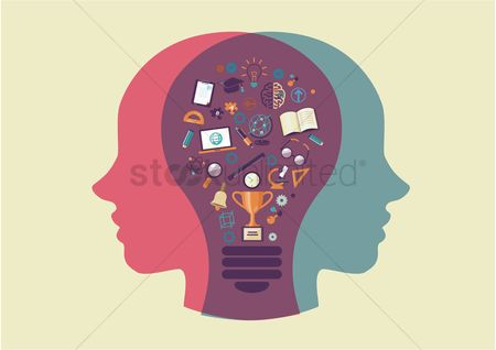 学校 : Human head and lightbulb with education icons
