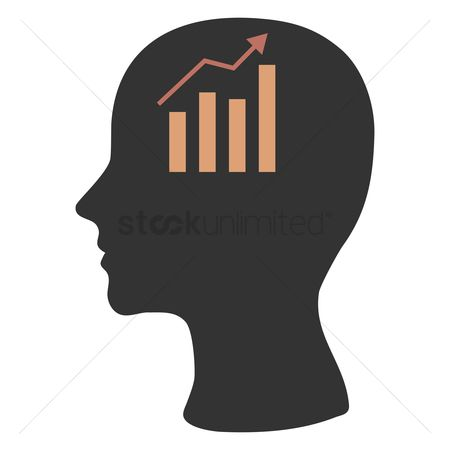 商业 : Human head silhouette with business growth chart