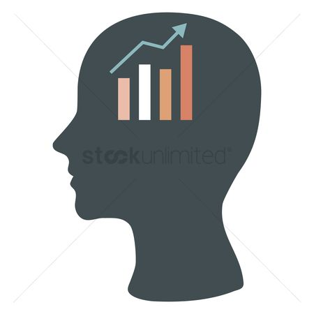 业务金融 : Human head silhouette with business growth chart