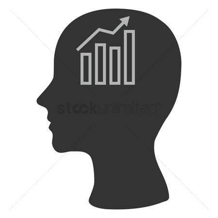 商业 : Human head silhouette with business growth graph